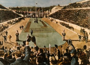 Postcard view of the Athens Olympic stadium, showing Spiro's victory